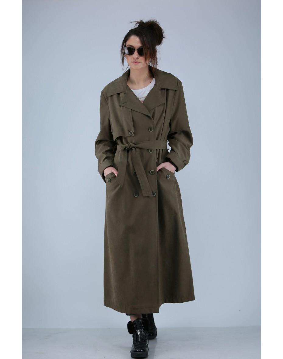Дамски дълъг двуреден шлифер