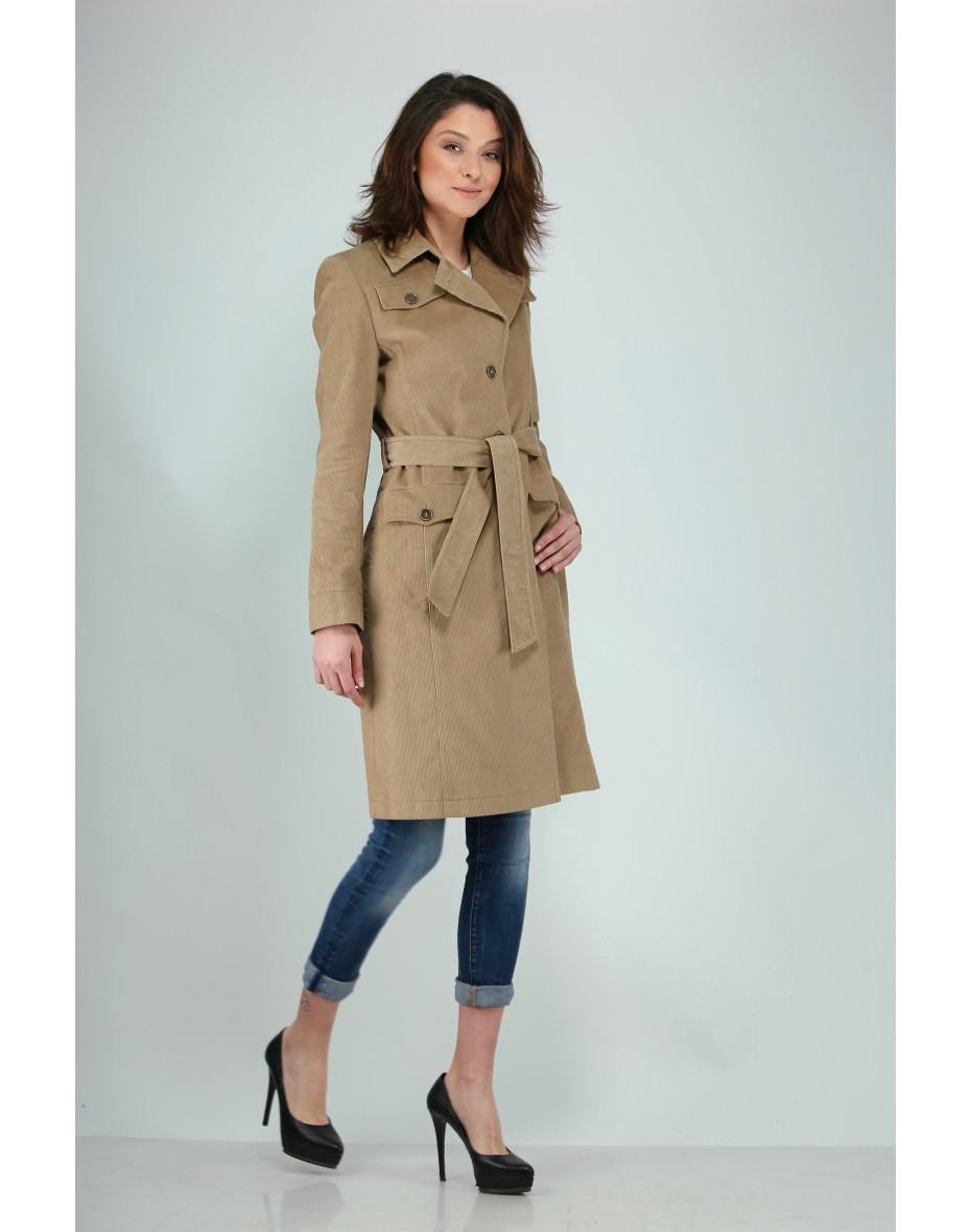 Дамски класически шлифер от кадифе