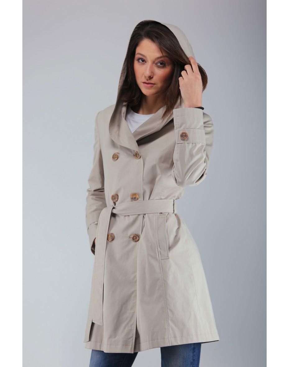 Дамски къс шлифер с качулка