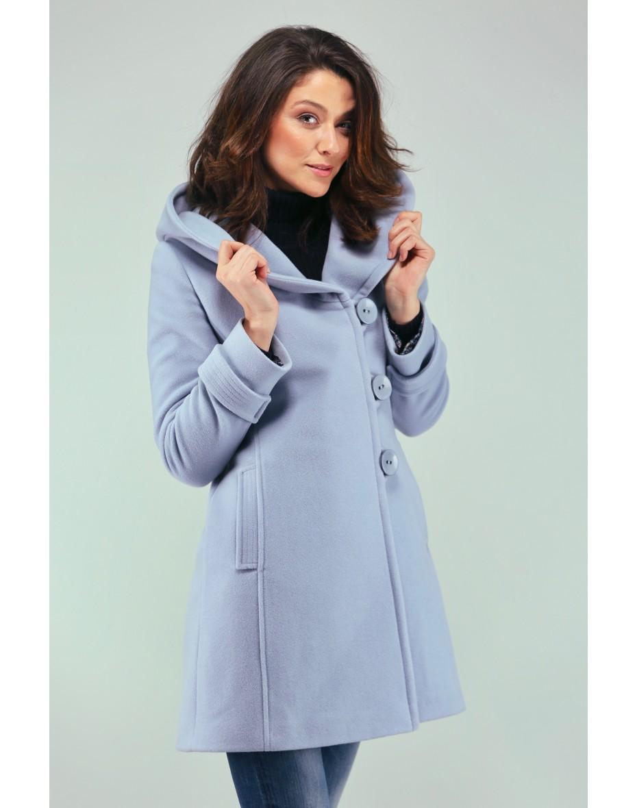 Дамско късо палто в светло синьо с качулка