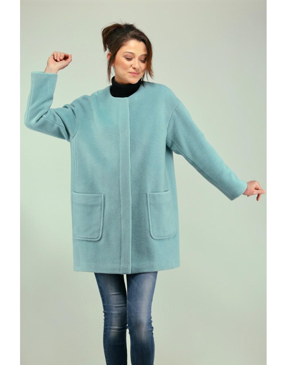 Дамско палто в цвят аква