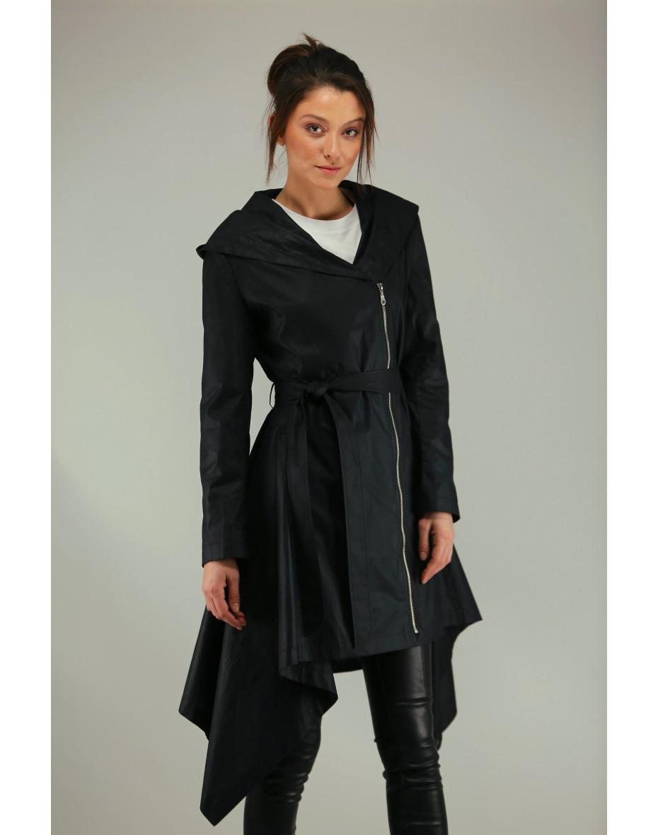 Дамски втален асиметричен шлифер с качулка