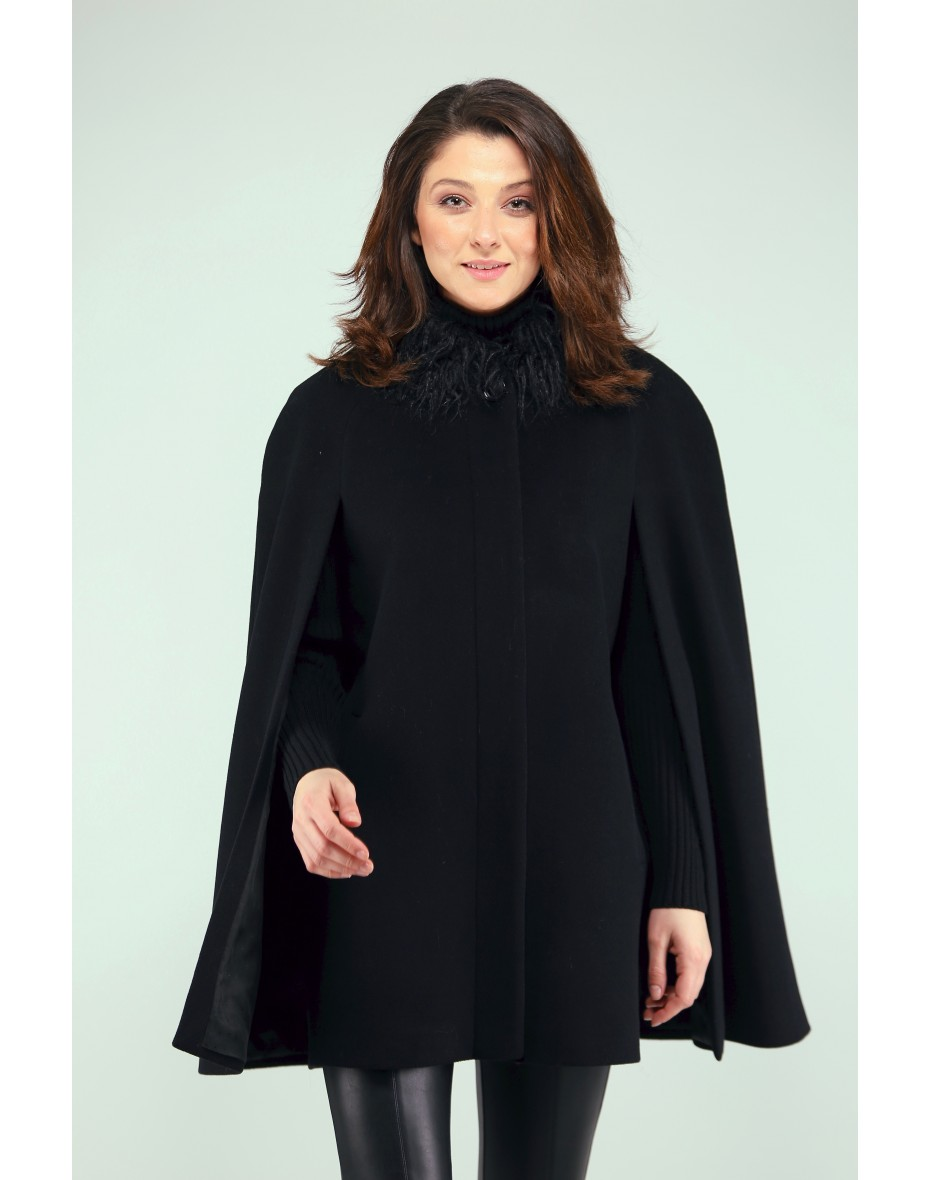 Дамско палто с пелерина и яка от еко кожа