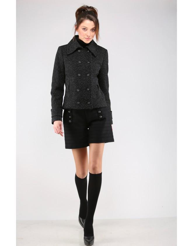 Дамско късо двуредно палто в туид