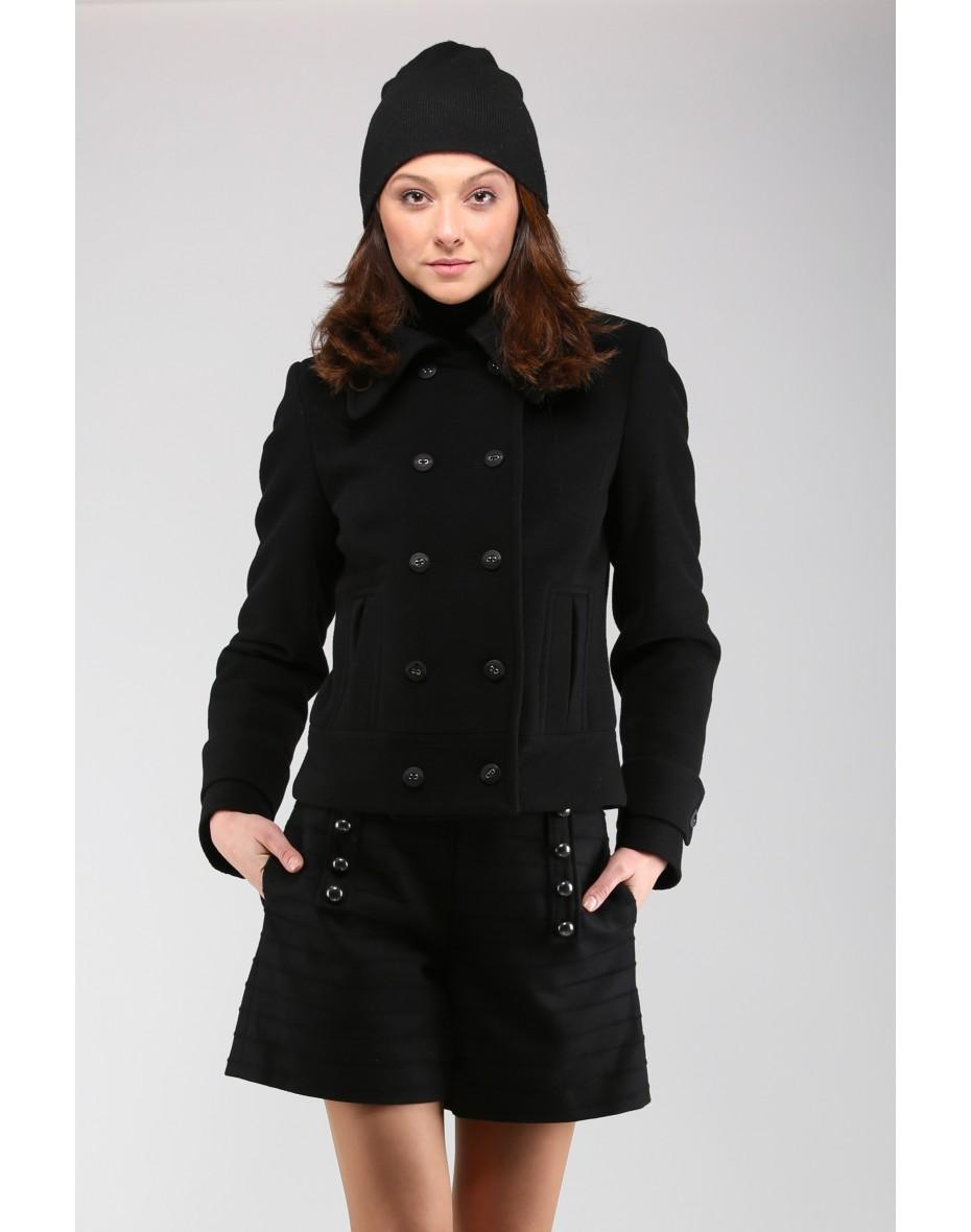 Дамско късо двуредно палто в черно