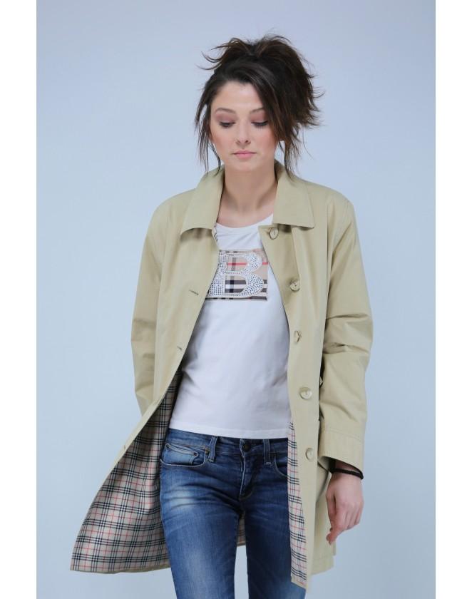 Дамски къс шлифер с карирана подплата